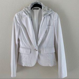 Jackets & Blazers - White Blazer with Hoodie